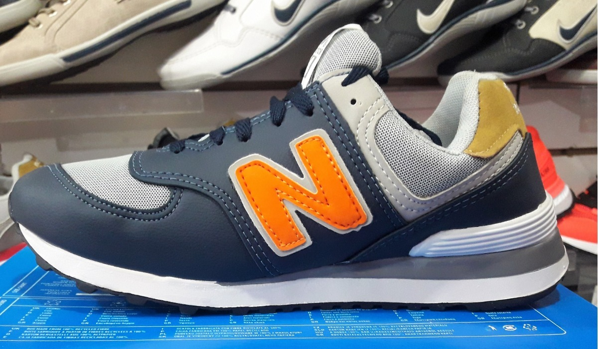 zapatillas new balance 574 azul naranja. Cargando zoom. 7b8d5908e1ecb