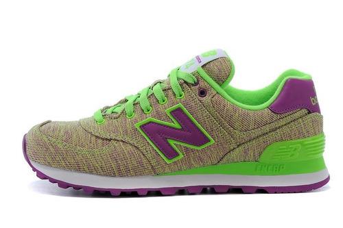 zapatillas new balance 574 de mujer verde y lila