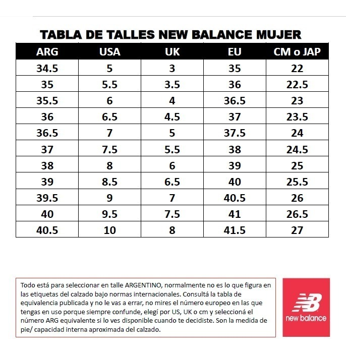 new balance mujer numero 39
