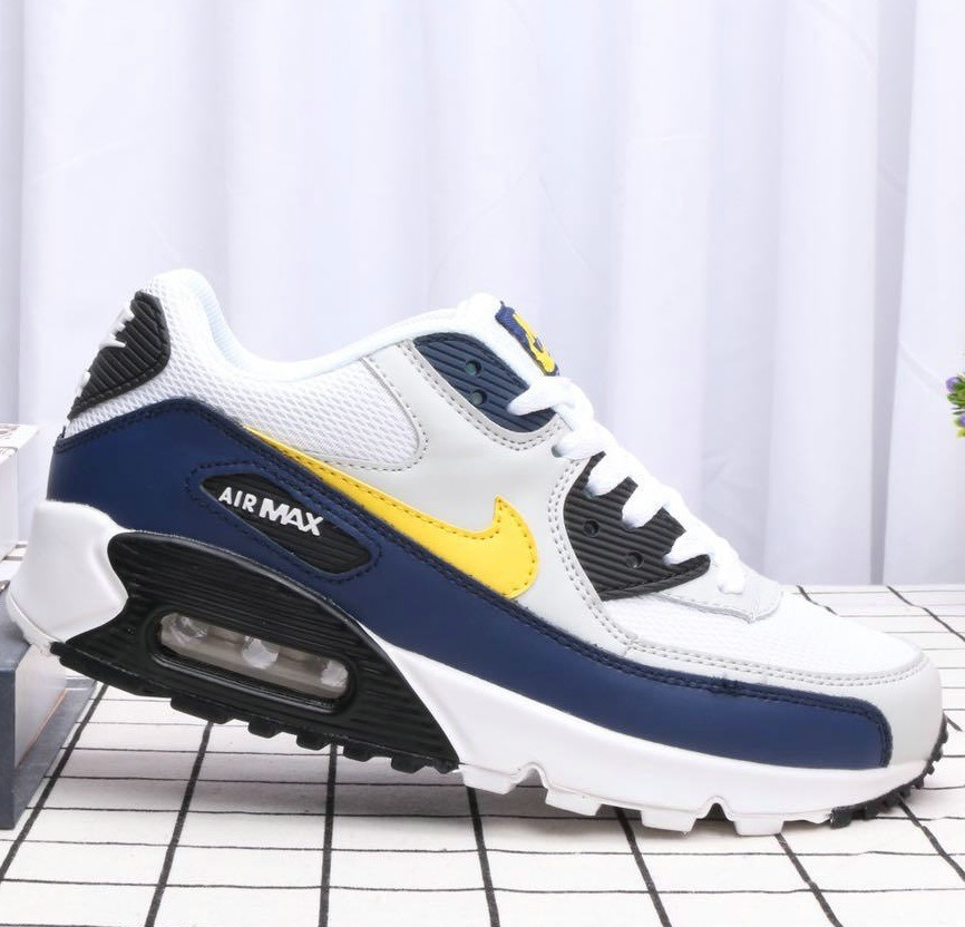 5b4fe184e4 zapatillas nike air max 90 essential blanco/amarillo /azul. Cargando zoom.