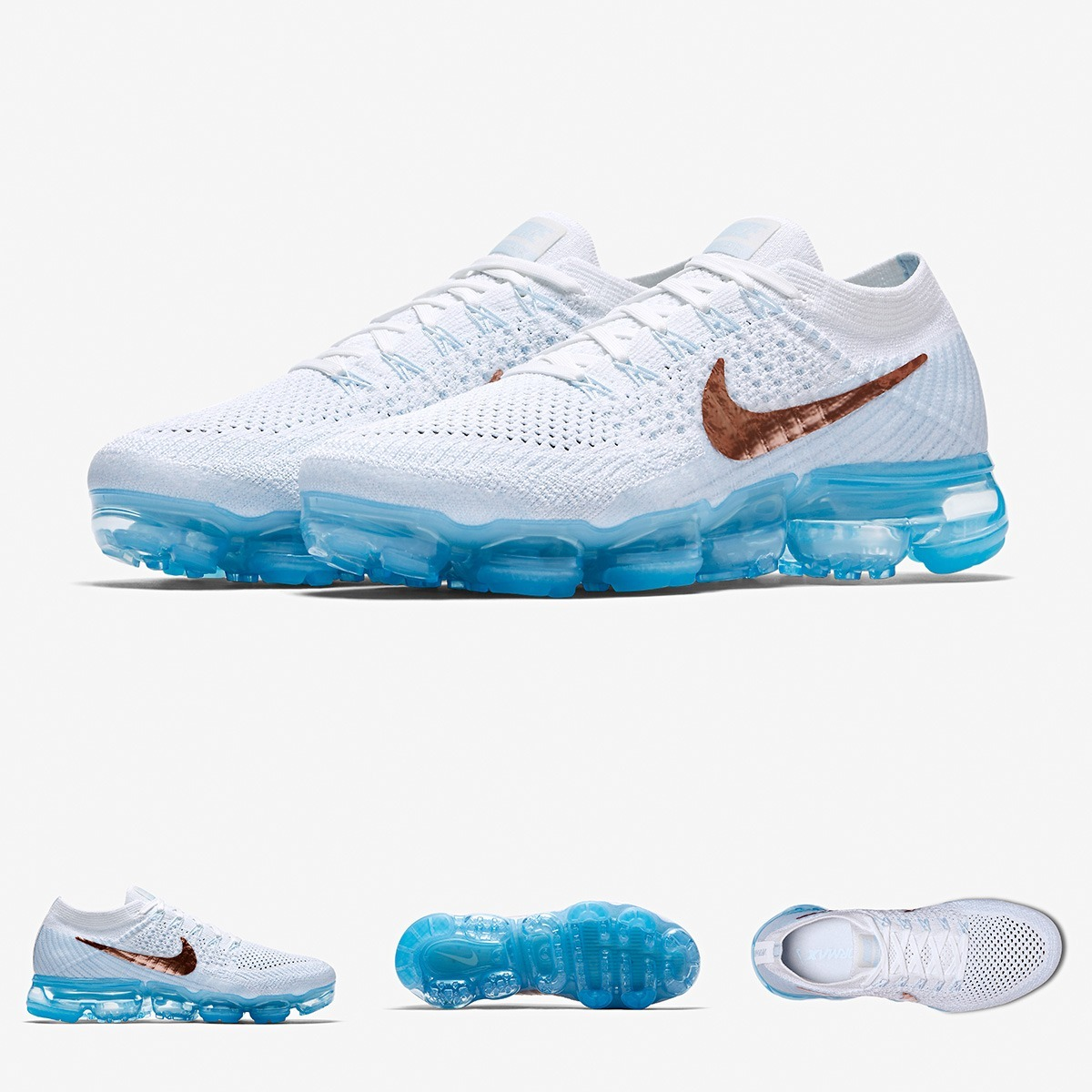 new style 23970 c1b4c Zapatillas Nike Air Max Vapormax Flyknit White Gold