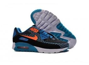 Zapatillas Nike Airmax 90 Azul Negro Naranja Nuevo En Caja