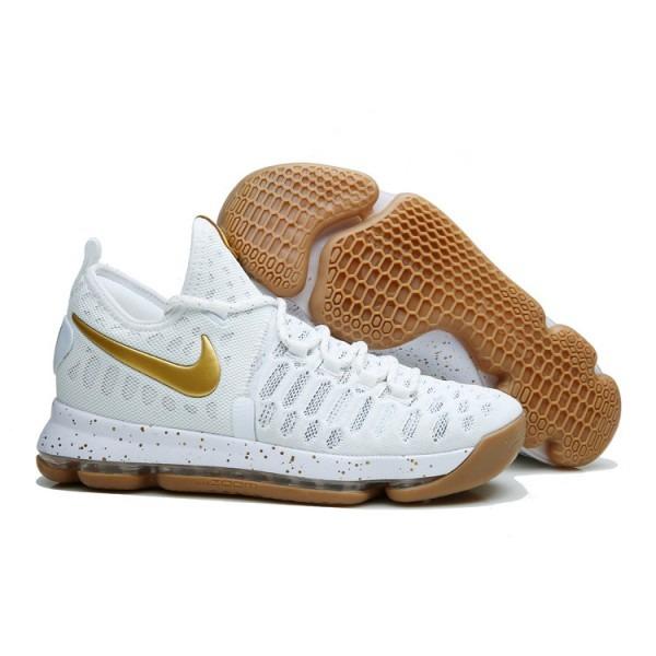 super cute 602d7 7ae3c zapatillas nike kevin durant 9 blancas con doradas