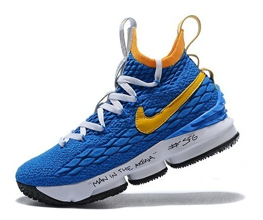 big sale 1d587 48d2a Zapatillas Nike Lebron James 15 Amarillo Blue White 40/46