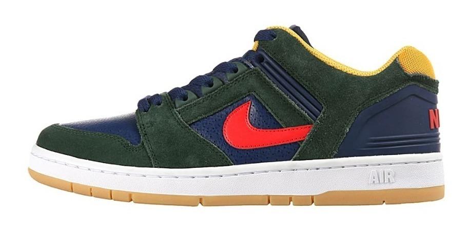 Zapatillas Nike Sb Air Force Ii Low 364 Verde Azul Amarillo