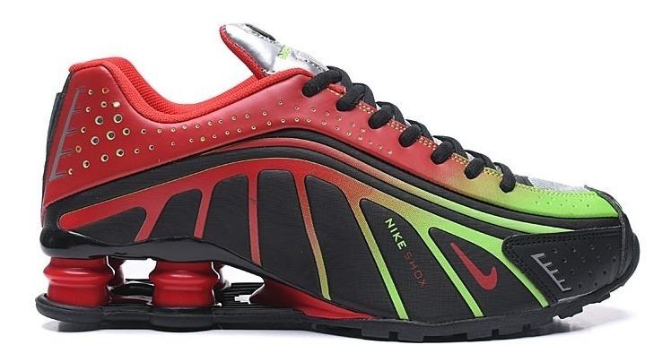 Zapatillas Nike Shox R4 Negro Rojo Amarillo Fosforece 4046