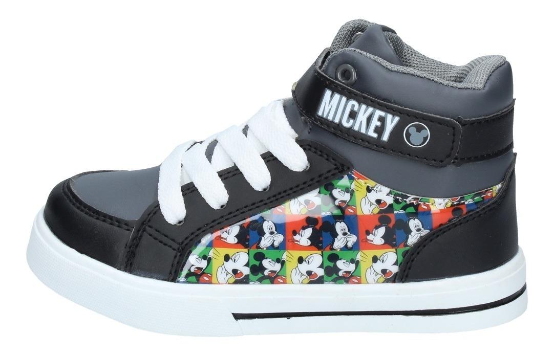 Zapatillas Niños Urbana Caña Alta Mickey Mouse Negra 3123