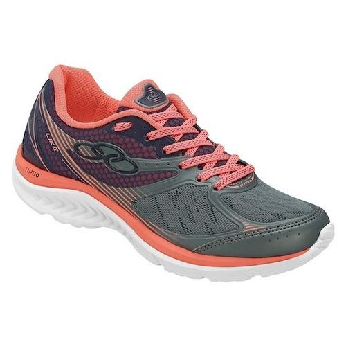 zapatillas olympikus de running like gris con salmon mujer