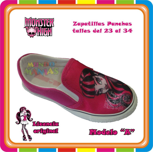 zapatillas panchas monster high - originales - mundo manias