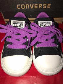 Zapatillas Para Nena Converse All Star Negras Y Violetas N24