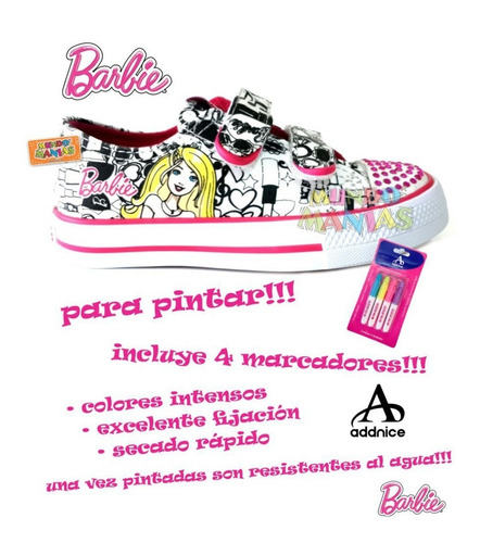 zapatillas para pintar barbie original addnice mundo manias