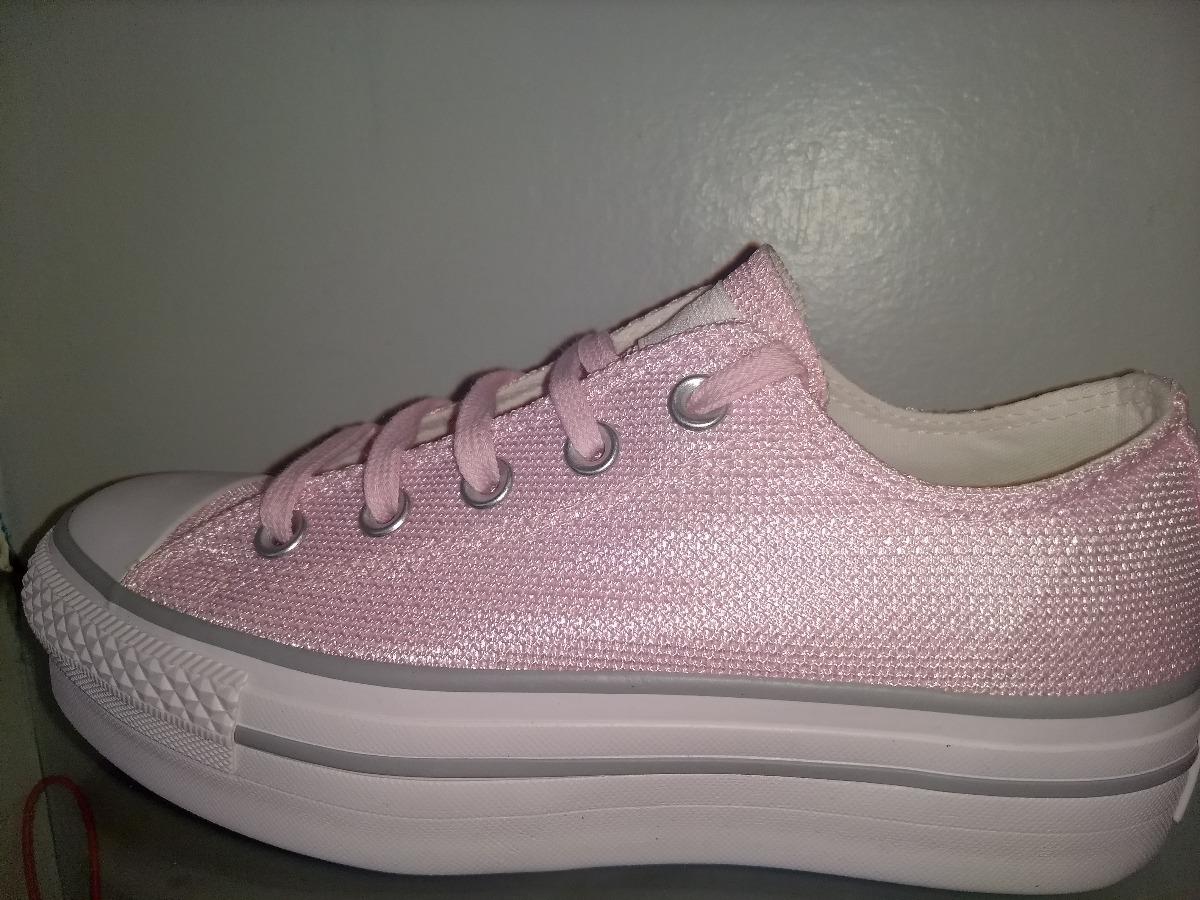 converse con plataforma rosa