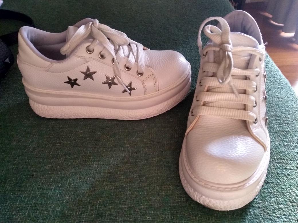 b3da9124e4d zapatillas plataforma ecocuero blancas estrellas 36 c nuevas. Cargando zoom.