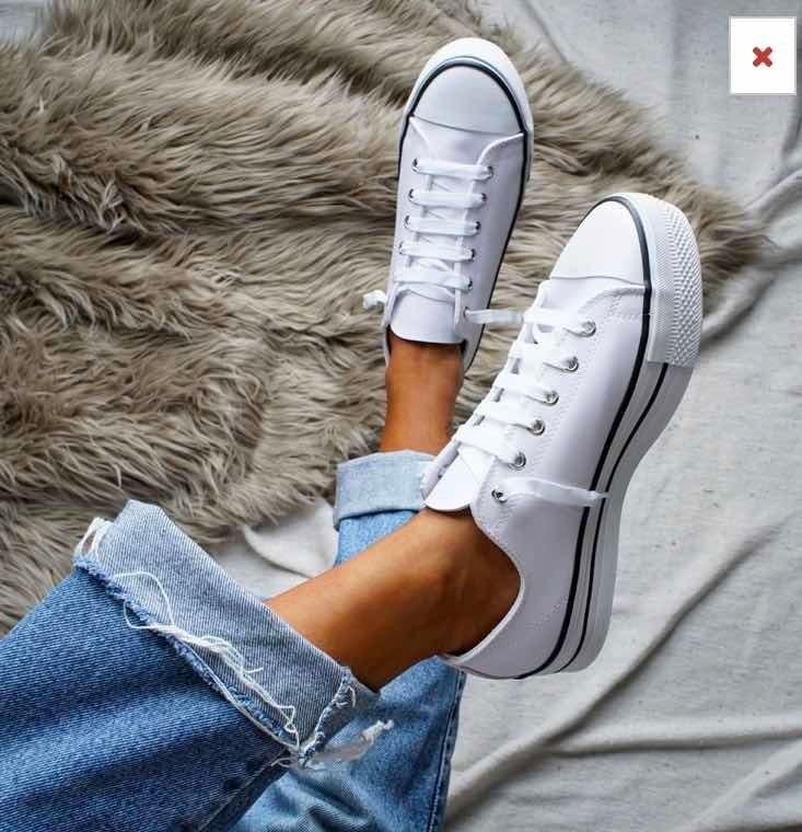Zapatillas Tipo Converse Mujer Plataforma Blancas Negras