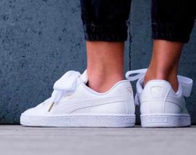 zapatillas puma basket mujer blancas