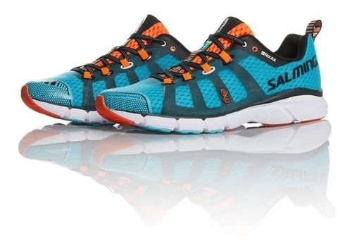 zapatillas salming enroute blue lime running hombre