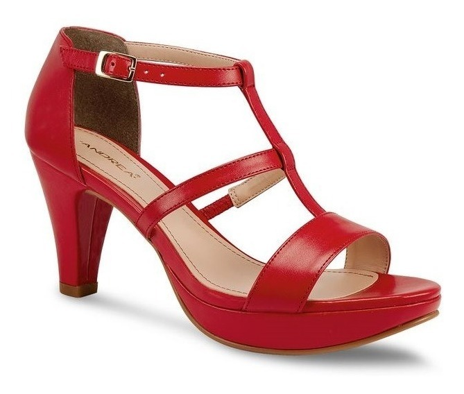 nuevo concepto ee56d e6b65 Zapatillas Sandalias Rojas Andrea Tacón Bajito Zapatos Rojos