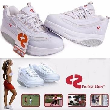 zapatillas shape ups skechers perfect steps cirio blancas