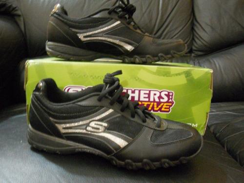 zapatillas skechers black/silver, nº 36.5