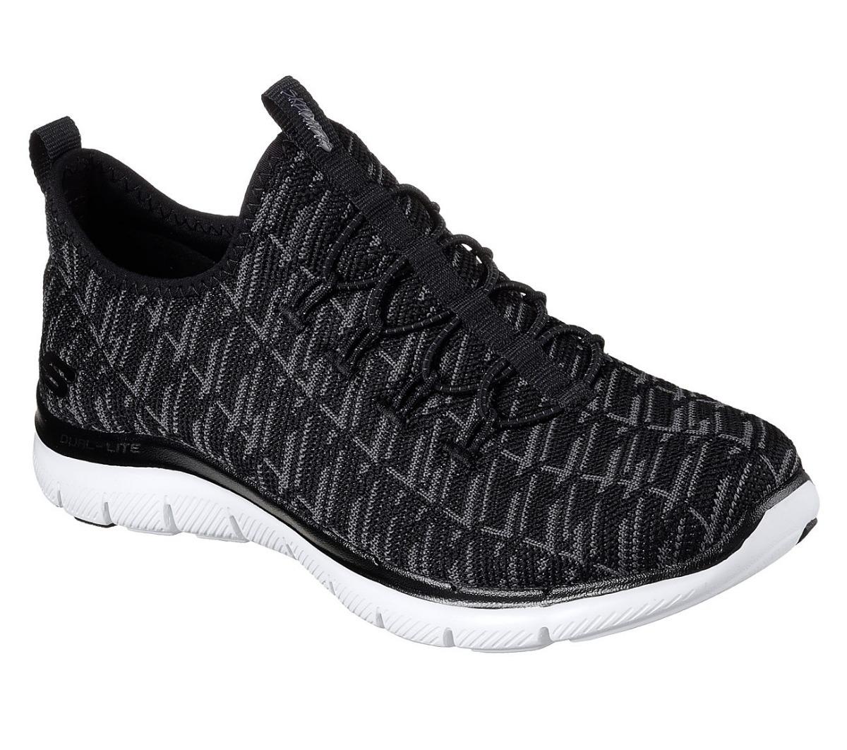Skechers Flex Appeal 2.0-Insights, Zapatillas sin Cordones para Mujer, Negro (Black), 38.5 EU