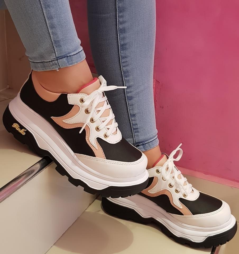 Zapatillas Sneakers Con Plataforma Alta Mujer Moda 2018