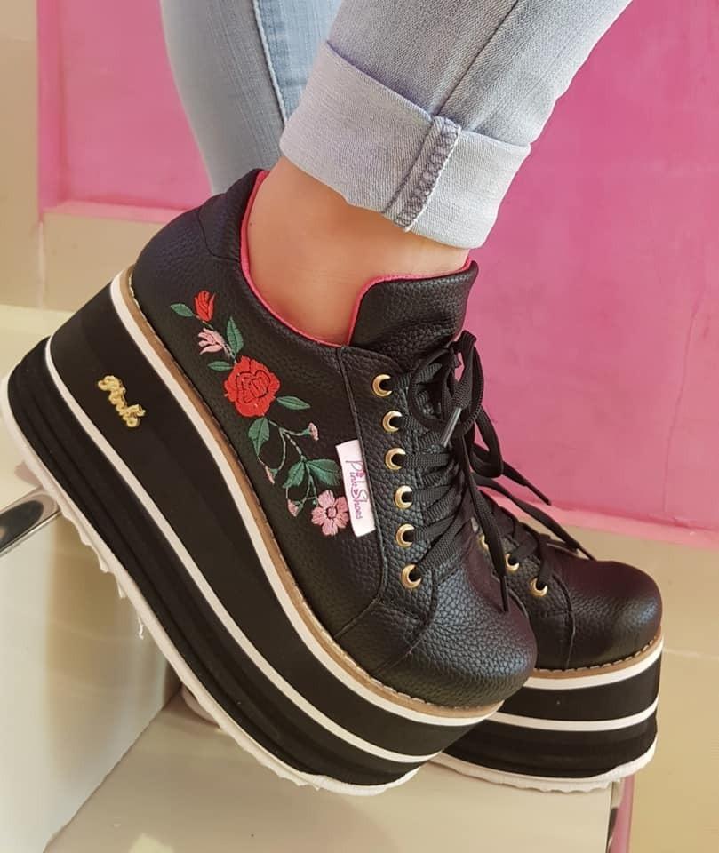 low priced b098c 9a019 zapatillas sneakers mujer plataforma flores bordadas 2080. Cargando zoom.
