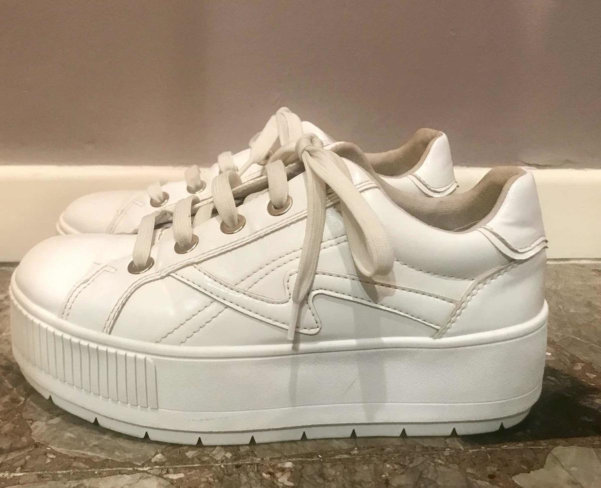 fecha de lanzamiento: d5719 b8c8d Zapatillas Sneakers Stradivarius Plataforma Eco Cuero Blancas Tipo Converse  - $ 1.500,00