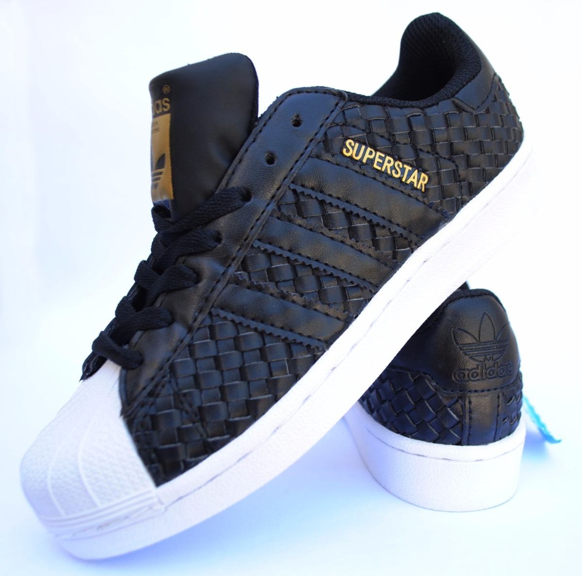 meet bf760 ce88c Zapatillas Superstar Black Gold Woven -   2.499,00 en Mercado Libre