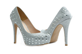 Zapatillas En Zapatos De Transparencias Pico Mercado Con Plateado DHWY9e2IE