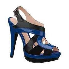 caca3a3edcb Sandalias Zapatillas Andrea Negro   Azul Rey De Piel No.24.5