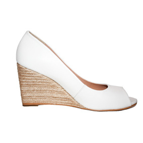 2f8e9ce7e9372 Zapatos Blancos Peep Toe Tacon Yute Wedge 4 Westies Nuevos