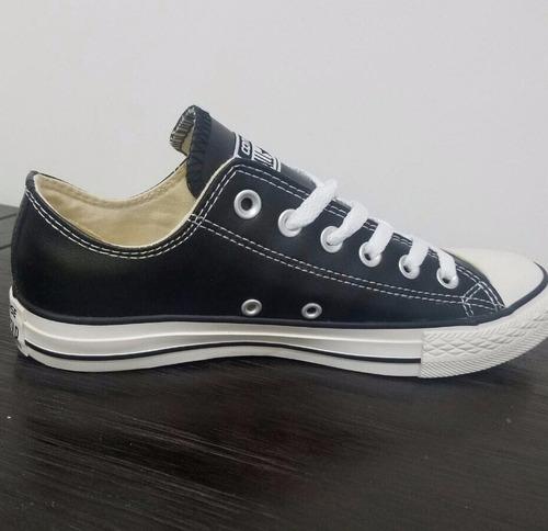 zapatillas tenis converse  cuero negro  mujer