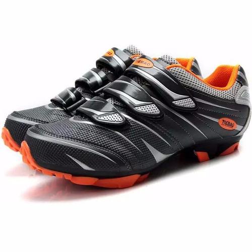 zapatillas tiebao mtb negro - naranja, talla 9 us