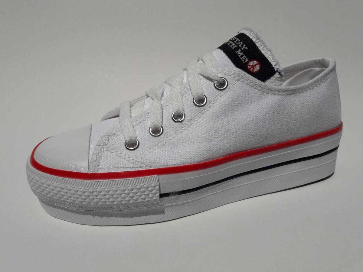 3c40ee7196 Zapatillas Tipo Converse De Lona Base 5 Cm. - $ 499,00 en Mercado Libre