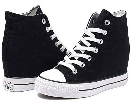 zapatillas tipo converse lux lona negro !! taco escondido !