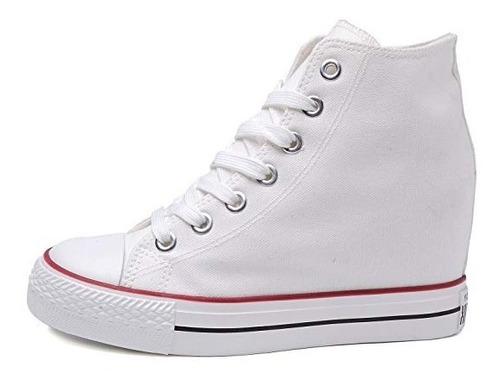 zapatillas tipo converse lux !! taco escondido ! lona blanca