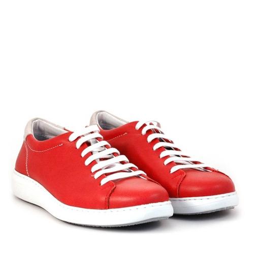 zapatillas urbanas para hombres de cuero rojo batistella