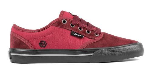 zapatillas vicus folk gamuza/lona bordo suela negra