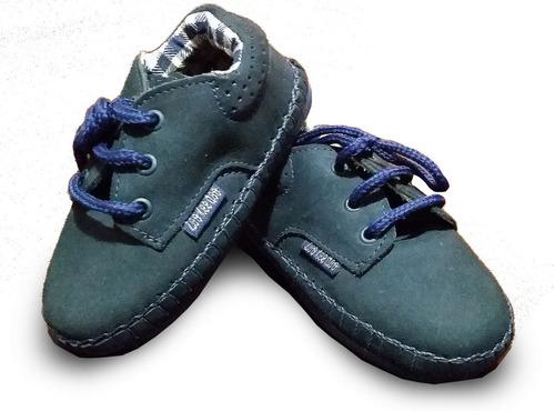 zapatillas zapato abotinado nautico bebé niño gamuzado azul