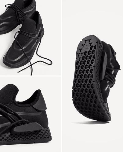 zapatillas zara man negro piezas laterales
