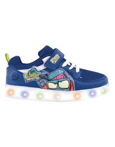zapatillas zombies infection azul con luz led - footy