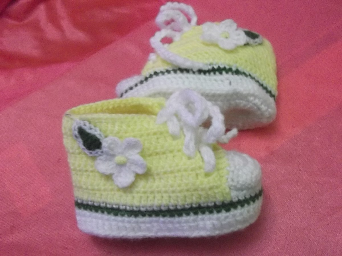 Zapatillitas Para Bebe Tipo All Star Converse A Crochet. 011 - S/ 20 ...