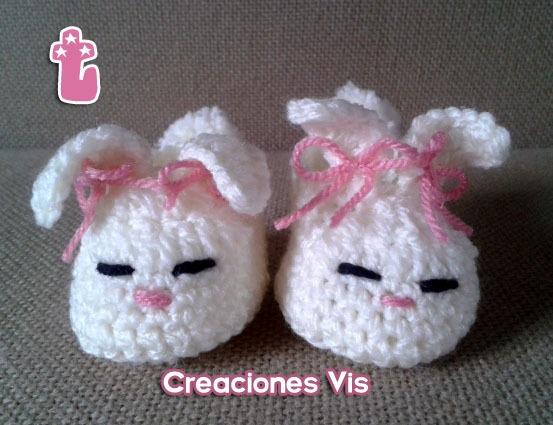 5a41025a0 Zapatitos De Conejito Bebé Tejidos A Mano Crochet -   120.00 en ...
