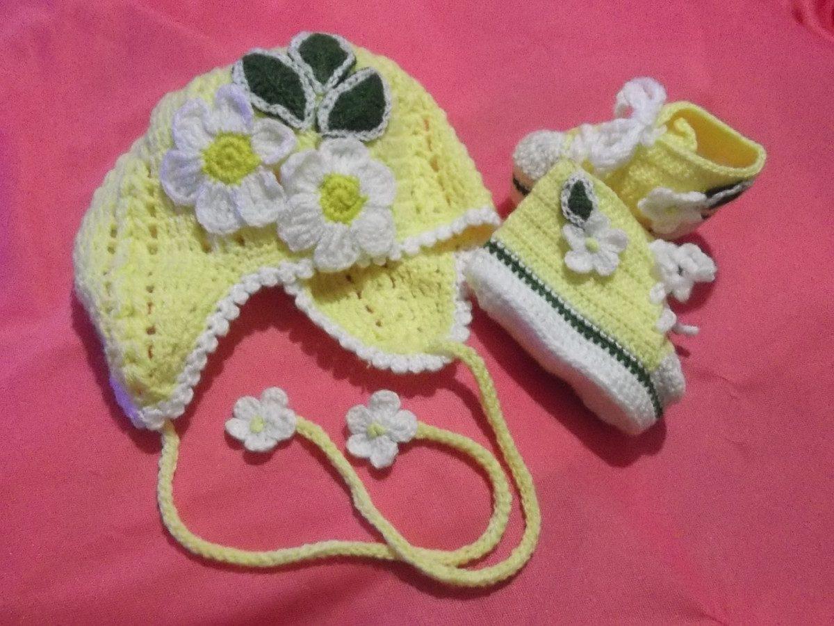 Zapatitos Y Gorritos En Juego Tejidos A Crochet Para Bebe - S/ 50,00 ...