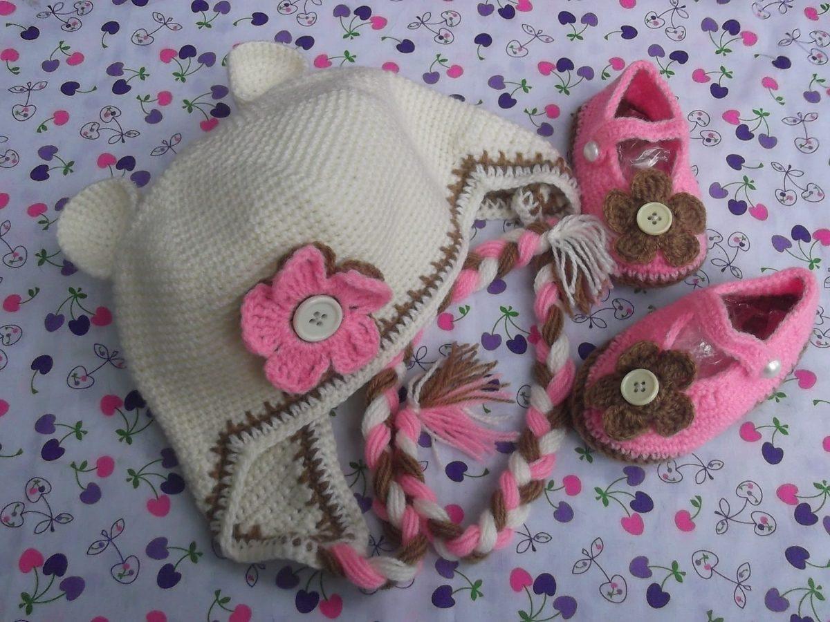 Zapatitos Y Gorritos En Juego Tejidos Crochet Para Bebe.012 - S  50 ... 79ff1d450eb