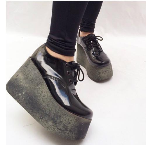 zapato abotinado cuero charol negro alfonsina multistore