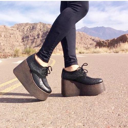 zapato abotinado cuero croco alto mujer alfonsina multistore