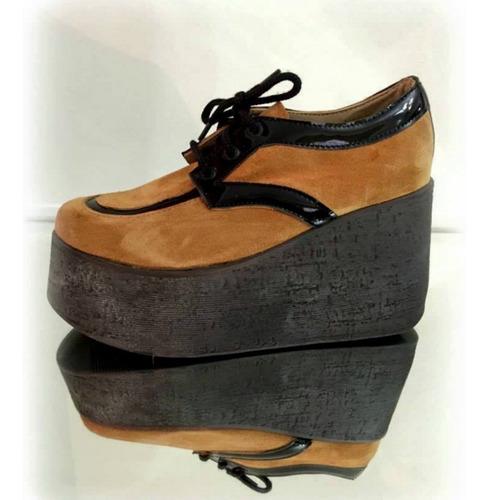 zapato abotinado cuero gamuza mujer alfonsina multistore
