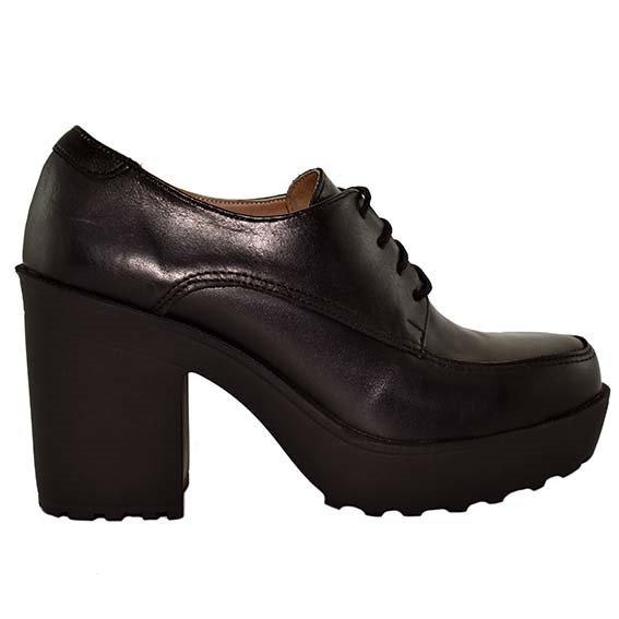 Mujer Zapato Cuero Abotinado Acordonado Negro Tacón rdxBoCe