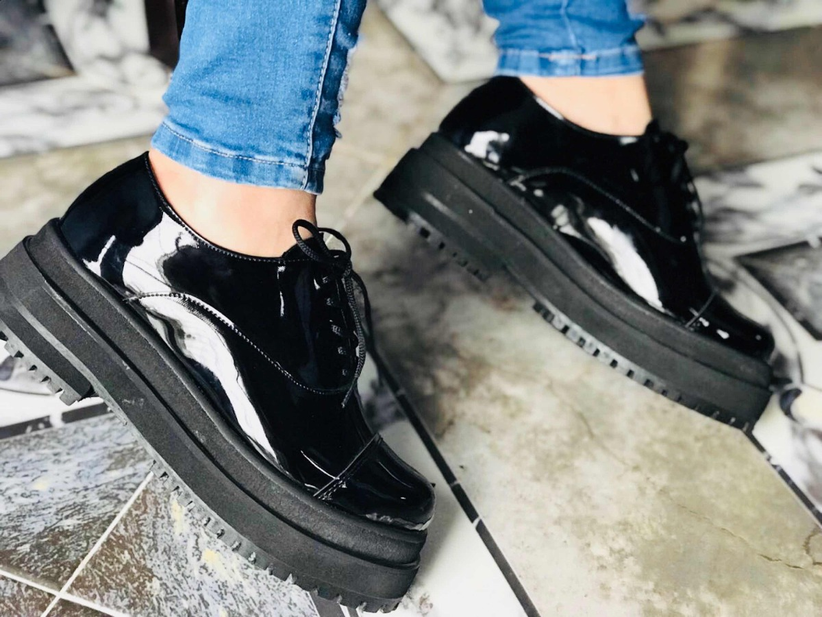 Zapato Acordonado Mujer Sandalia Abotinado Charol Verano 19 ... 4896422cc083